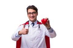 Il medico dell'eroe eccellente isolato su bianco Fotografia Stock Libera da Diritti