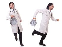 Il medico dell'uomo con l'orologio isolato su bianco Fotografie Stock