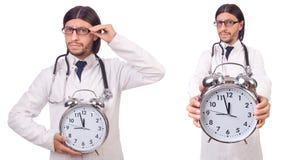 Il medico dell'uomo con l'orologio isolato su bianco Immagine Stock Libera da Diritti