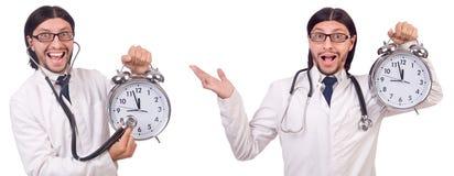 Il medico dell'uomo con l'orologio isolato su bianco Fotografia Stock Libera da Diritti