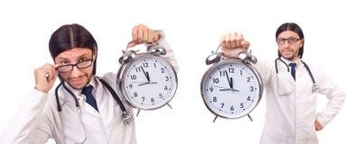 Il medico dell'uomo con l'orologio isolato su bianco Immagine Stock