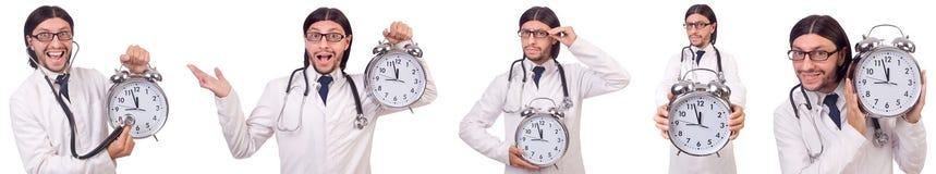 Il medico dell'uomo con l'orologio isolato su bianco Immagini Stock