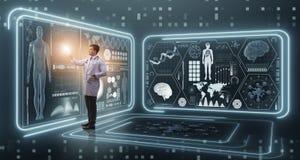 Il medico dell'uomo nel concetto medico della medicina futuristica Immagini Stock
