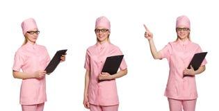Il medico della donna isolato su bianco Fotografia Stock