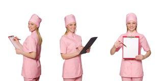Il medico della donna isolato su bianco Fotografia Stock Libera da Diritti