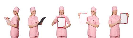 Il medico della donna isolato su bianco Fotografie Stock