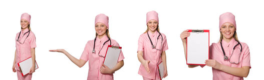 Il medico della donna isolato su bianco Immagini Stock Libere da Diritti