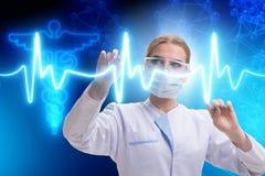 Il medico della donna nel concetto futuristico di telemedicina Fotografia Stock Libera da Diritti