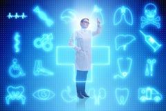 Il medico della donna nel concetto futuristico di telemedicina Immagine Stock Libera da Diritti