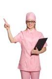 Il medico della donna su bianco Immagini Stock