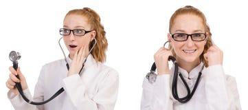 Il medico della giovane donna isolato su bianco Fotografia Stock