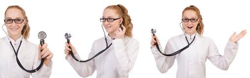 Il medico della giovane donna isolato su bianco Immagine Stock Libera da Diritti