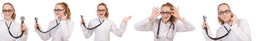 Il medico della giovane donna isolato su bianco Immagini Stock