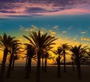 Il Mediterraneo Spagna di alba della spiaggia di EL Arenal di Javea Immagini Stock