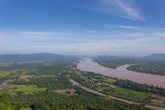 Il Mekong al tempio di Katong, a Nong Khai, alla vacanza della Tailandia ed alle feste lunghe Fotografia Stock