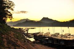 Il Mekong, porto, Luang Prabang, Laos Fotografia Stock