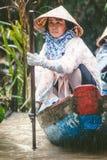 IL MEKONG, VIETNAM Donna con i suoi turisti di trasporto della barca fotografia stock libera da diritti