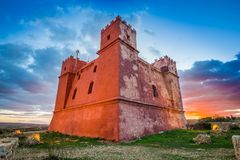 Il-Mellieha, Malta - The famous St Agatha`s Tower or Red Tower at sunset
