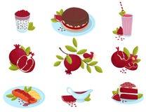 Il melograno, i dessert dell'alimento della frutta fresca e le salse maturi hanno messo, granato delizioso serve le illustrazioni royalty illustrazione gratis