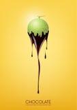 Il melone del cantalupo ha immerso in cioccolato fondente di fusione, la frutta, il concetto di ricetta della fonduta, trasparent Fotografia Stock Libera da Diritti