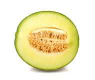 Il melone, melone ha tagliato il pezzo su fondo bianco Fotografie Stock