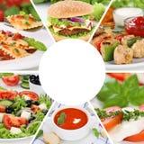 Il menu del collage della raccolta dell'alimento che mangia le bevande mangia il restau dei pasti del pasto Immagini Stock Libere da Diritti