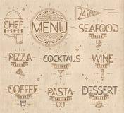 Il menu nello stile moderno d'annata allinea il mestiere tirato Fotografia Stock Libera da Diritti