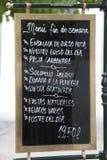 Il menu spagnolo firma dentro Madrid Fotografie Stock Libere da Diritti