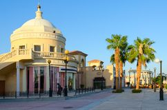 Il Mercato的企业和购物和娱乐区建筑学在Hadaba, Sharm El谢赫,埃及 免版税库存照片