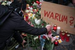 Il mercato a Berlino, il giorno di Natale dopo il attacco terroristico Immagine Stock Libera da Diritti
