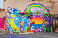 Il mercato del hippy di Punta Arabi è un posto famoso sull'isola in cui gli artisti vende i mestieri fatti a mano ed i ricordi immagine stock