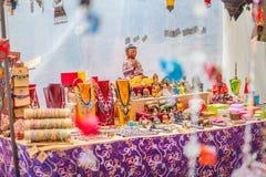 Il mercato del hippy di Punta Arabi è un posto famoso sull'isola in cui gli artisti vende i mestieri fatti a mano ed i ricordi fotografia stock