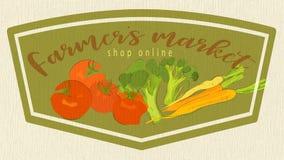 Il mercato dell'agricoltore con la copia online del negozio Carta con l'illustrazione dei pomodori, delle carote e dei broccoli illustrazione vettoriale