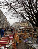 Il mercato delle pulci in Naviglio grande, Milano Immagini Stock