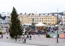 Il mercato di Natale sul quadrato del senato, città di Helsinki Fotografie Stock
