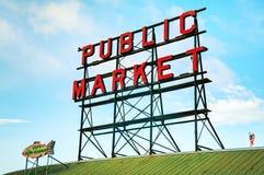 Il mercato di posto di luccio famoso firma dentro Seattle Fotografie Stock