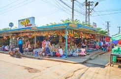 Il mercato in Pegu, Myanmar del ricordo immagini stock libere da diritti