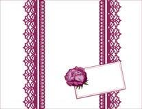 il merletto della lavanda di +EPS, scheda del regalo, aggiunge il vostro messaggio Fotografia Stock