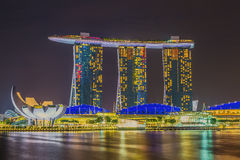 Il Merlion e Marina Bay Sands Resort Hotel Fotografia Stock