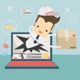 Il messaggero ha inviato l'oggetto sul concetto online di acquisto e sulla consegna veloce illustrazione di stock