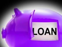 Il messaggio del porcellino salvadanaio di prestito significa i soldi presi in prestito o il creditore illustrazione vettoriale