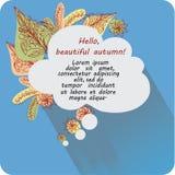 Il messaggio nella nuvola ciao, autunno! Insegna, manifesto Immagini Stock Libere da Diritti