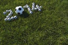 Il messaggio per 2014 ha fatto con i palloni da calcio di calcio Fotografia Stock Libera da Diritti