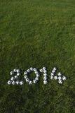 Il messaggio per 2014 ha fatto con i palloni da calcio di calcio su erba Fotografia Stock Libera da Diritti