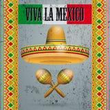 Il messicano concreto orna i maracas Viva La Mexico del sombrero royalty illustrazione gratis