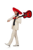 Il messicano divertente in chitarra della tenuta del vestito isolata fotografia stock