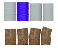Il metallo barrels (4 nuovi e 4 arrugginiti) illustrazione di stock