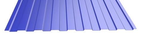 Il metallo blu ha ondulato la pila dello strato del tetto - vista frontale Fotografie Stock