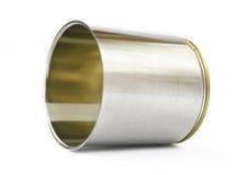 Il metallo può su priorità bassa bianca Fotografia Stock