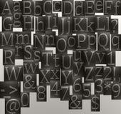 il metallo segna l'alfabeto con lettere Immagine Stock Libera da Diritti
